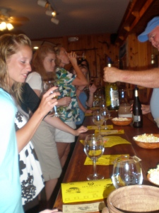 Lisa and the girls tasting award winning Red Cat Wine at Hazlit Vineyards