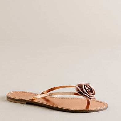 Satin Rosette metallic capri sandals- $78