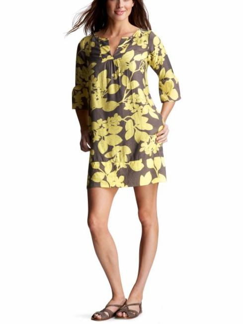 Floral Neck-Split Shift Dress $168- Gap