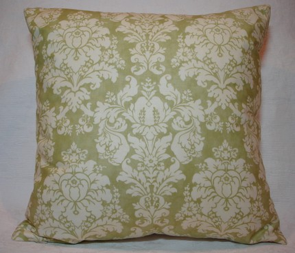 Green Damask Pillow 16 inch $16