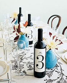 DIY Wine Bottle Table Numbers from Martha Stewart
