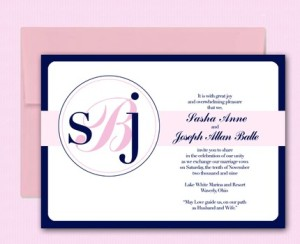 Pink & Navy Monogram Invitations from Your Style Invitations