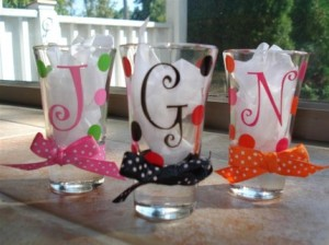 Preppy Polka Dot Shot Glasses $9 each