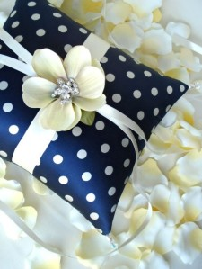 Navy Blue Ring Bearers Pillow from Emici Bridal (Etsy) $65