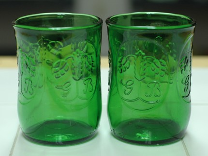 Recycled Beer Bottle Glasses from Yava Glass (Etsy) 2 for $20