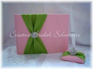 Pink & Green Guest Book by Creative Bridal Solutions (Etsy)