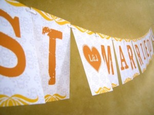 """Just Married"" Banner from Ear Mark (Etsy) $14"