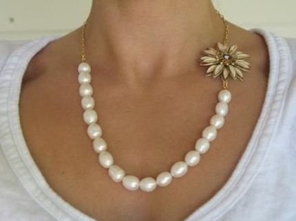 Daisy Pearl Vintage Inspired Necklace- Kate Gray Designs $60