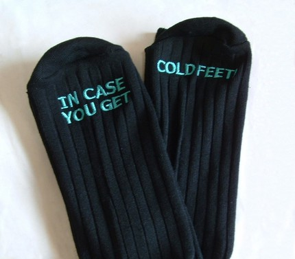 """Cold Feet"" Groom Socks by Erin Borges $30"