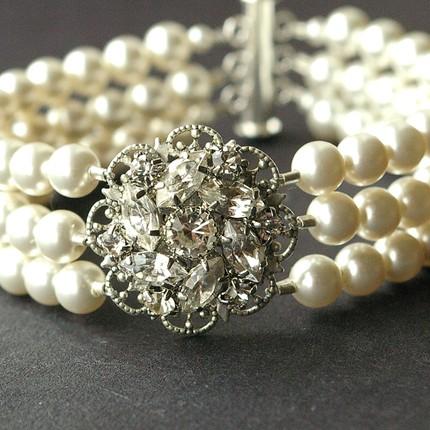 Celine Bracelet (triple strand) by Luxe Deluxe (Etsy) $76