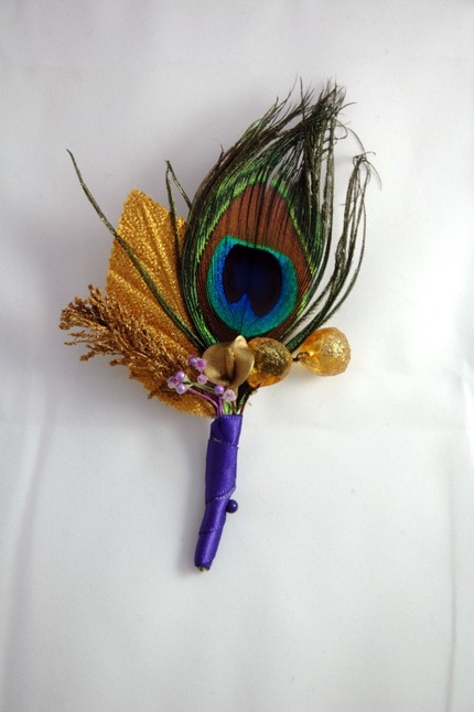 Peacock Feather Boutonniere $15 Ruby Feather- Etsy