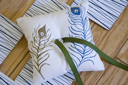 Peacock Ring Pillow $28 from Busy Buttons- Etsy