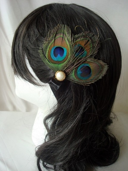 HOLLY Peacock Fascinator $19 The Sleepy Albatross- Etsy