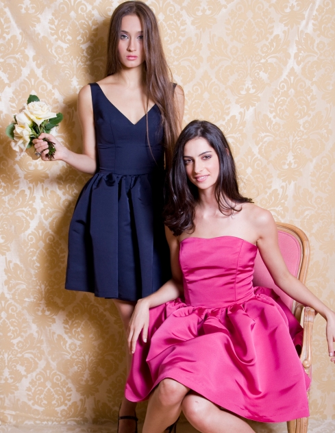 Ardour Rasberry & Navy Party Dresses
