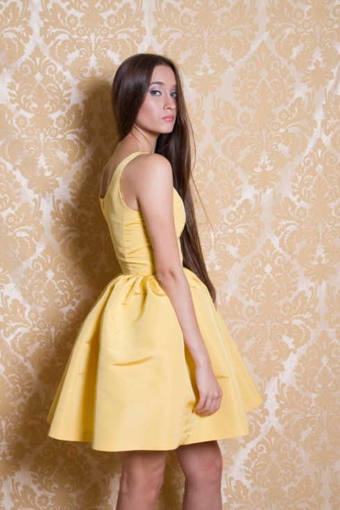 Ardour Yellow Faille Party Dress