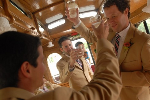 The Groomsmen aboard the Trolley...