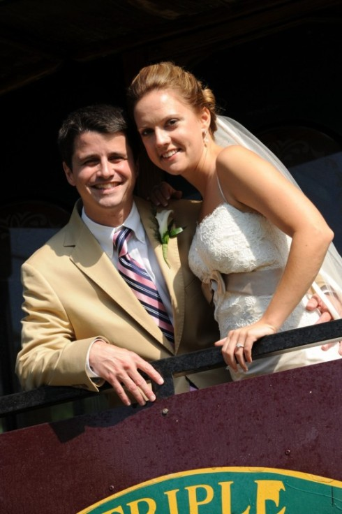 The Newlyweds aboard the Trolley