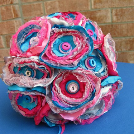 The Satin and Tulel Princess Bouquet $35 from Really Bad Kitty Creations