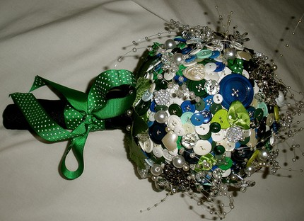Green & Navy Button Bouquet $350 from Lola Zeta - Etsy