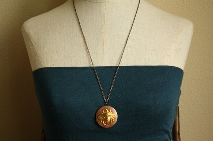Vintage Bumble Bee and Copper Locket from Freshy Fig- Etsy