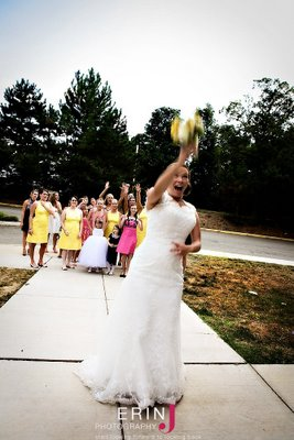 Tossing the bouquet...